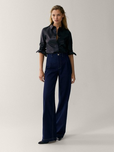 Darted wide-leg jeans