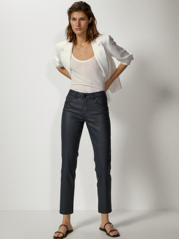 Mid-rise slim cropped fit coated trousers