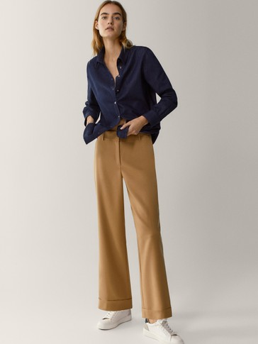 100% wool trousers with turn-up hems