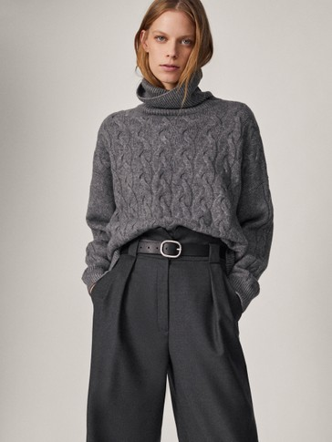 Wool crossover waistband trousers