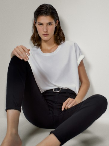 SKINNY FIT HIGH-RISE SATIN TROUSERS