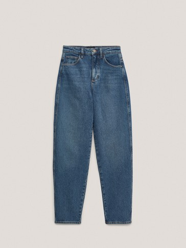 High-rise barrel fit jeans