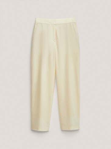 Straight fit wool trousers