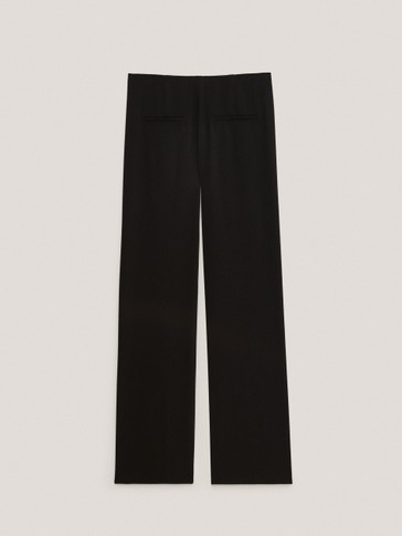Black crepe split hem trousers