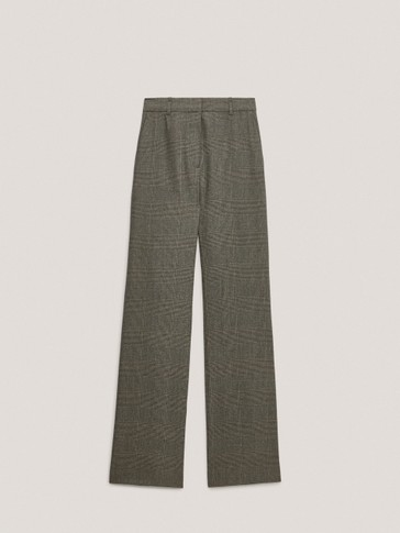 100% wool flare fit check trousers