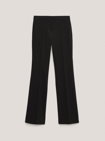 Crepe flare trousers