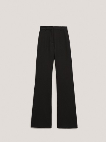 Flare fit wool flannel trousers