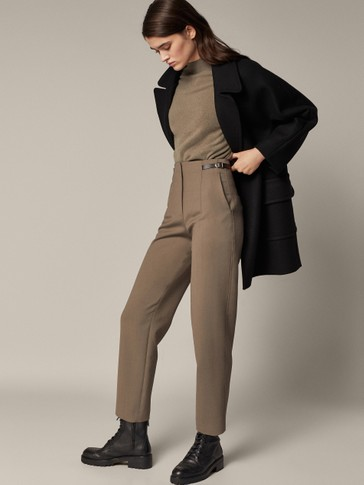 Darted trousers with buckle detail