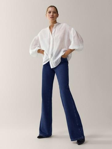 Camisa bordada algodón seda