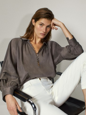 Linen silk shirt with buttons