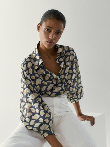 Cotton/silk ginkgo leaf print shirt