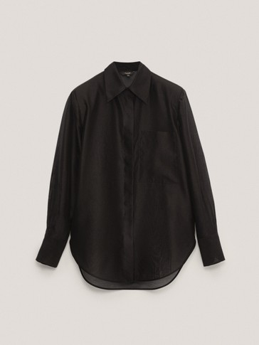 Cotton/silk organza shirt with shoulder pads