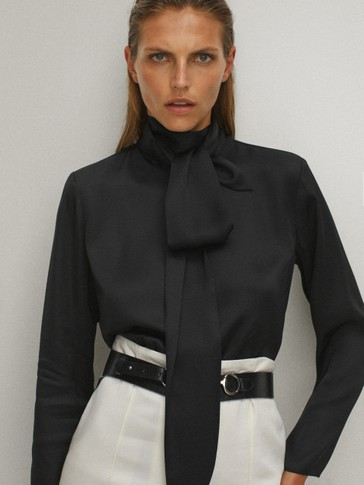 Black blouse with tied neckline