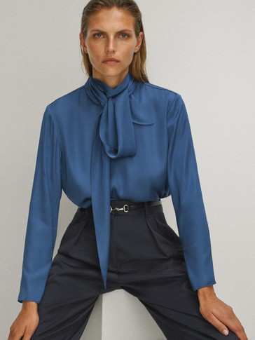 Blouse with tied neckline