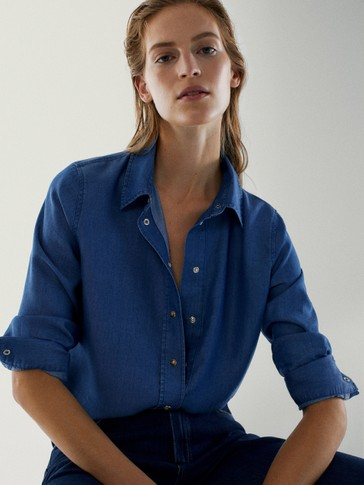 100% lyocell denim blouse