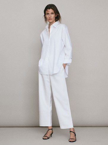 PLAIN POPLIN OVERSIZED SHIRT