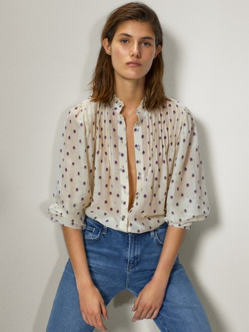 Polka dot cotton and silk shirt