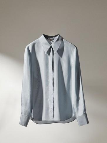 Vienspalviai gryno šilkaverpių šilko marškiniai