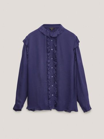 قميص من قماش الكريب بلمسة من الساتان