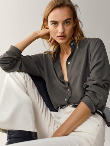 Однотонная рубашка из 100% лиоцелла
