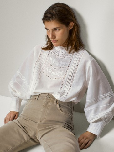 Embroidered cotton and linen shirt