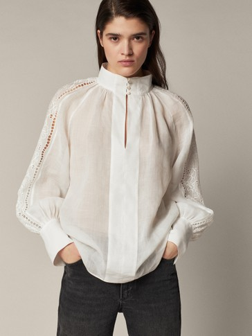 BLOUSE WITH EMBROIDERED DETAIL
