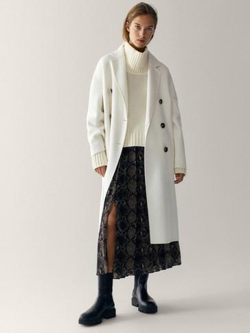 Snakeskin print pleated skirt