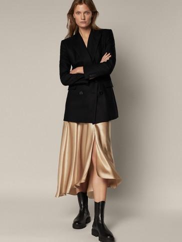 Flowing satin skirt