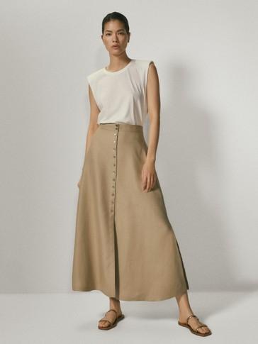 100% linen skirt with buttons