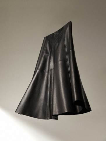 Leather black midi skirt