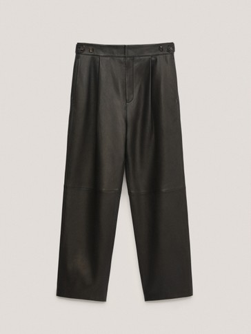 Black leather darted trousers