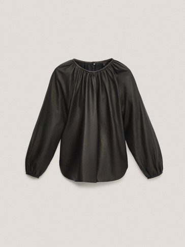 Black nappa leather gathered blouse