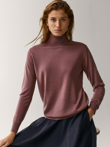 Wool and silk high neck sweater