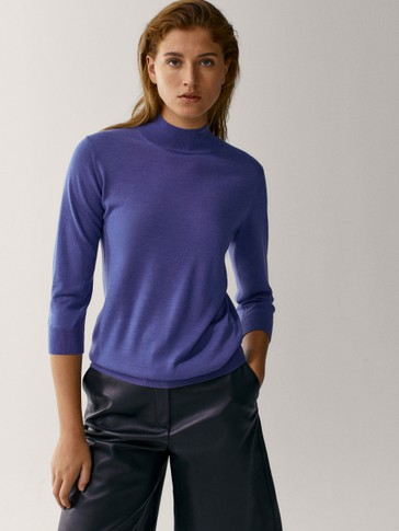 Wool silk high neck sweater