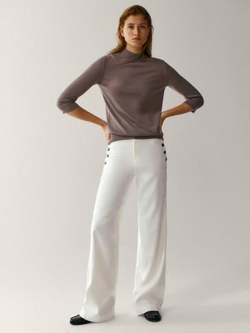 Wool/silk high neck sweater