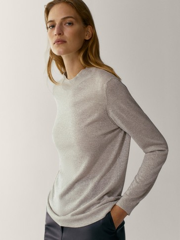 High neck sweater with metallic thread