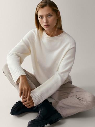 Pull cape en laine mélangée ensemble