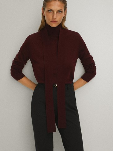Silk and wool sweater with tie detail