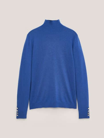 Mock turtleneck sweater with buttoned cuffs