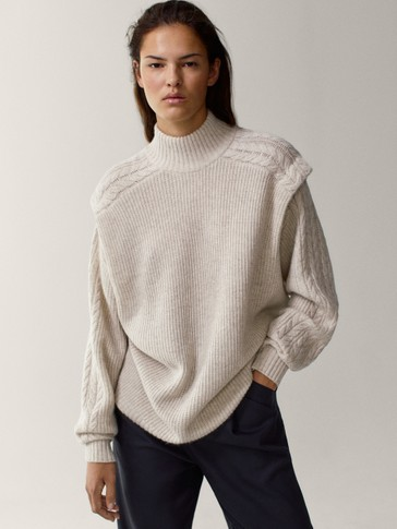 Cable-knit purl cape sweater