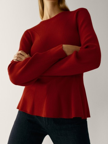 Crew neck peplum sweater