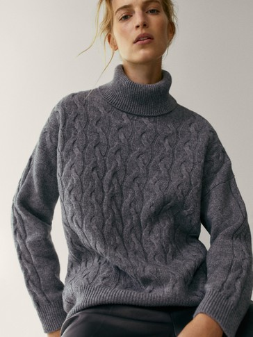 Wool cashmere high neck sweater