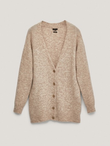 Total Look buttoned wool cardigan