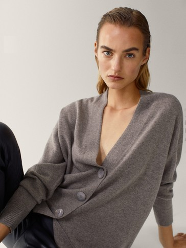 Long wool and cashmere cardigan