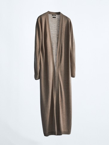 Long knit cardigan with wool and silk