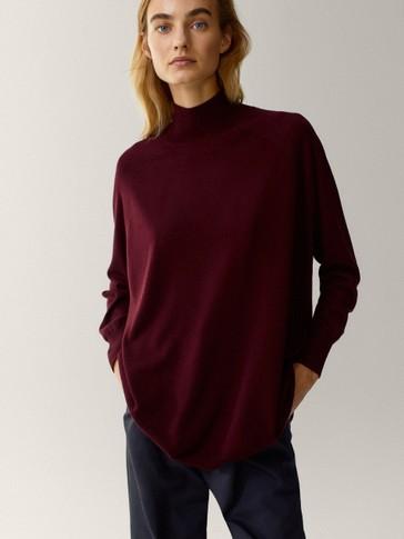Wool/silk oversize high neck sweater