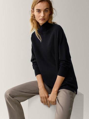 Jersey cuello perkins oversize lana seda