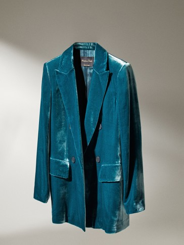 Mock double-breasted velvet blazer