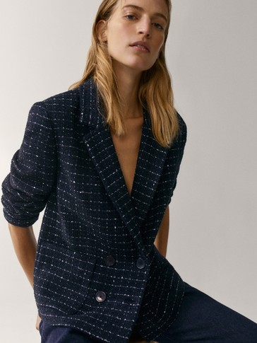 Navy blue cropped buttoned jacket