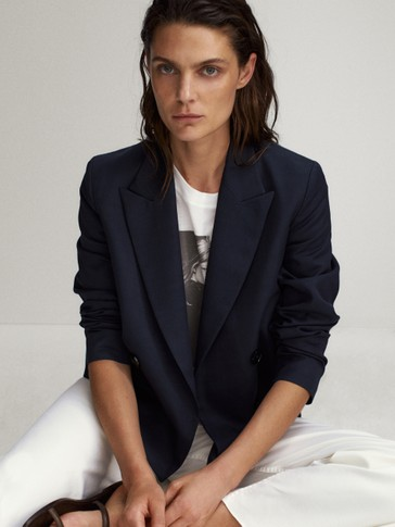 Navy double-breasted short blazer
